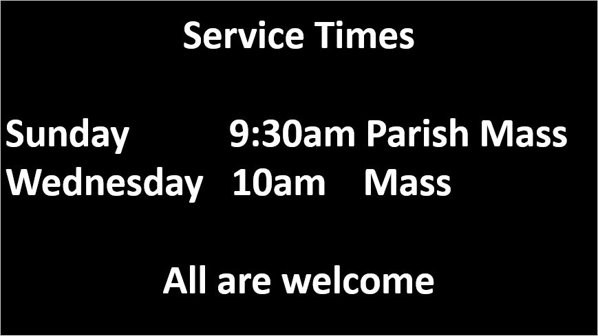 Service times for St Lawrence's. Sunday at 9:30am and Wednesday at 10am.